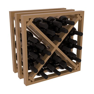 Karnes Pine Lattice X-Cube 24 Bottle Tabletop Wine Rack Finish: Oak Satin