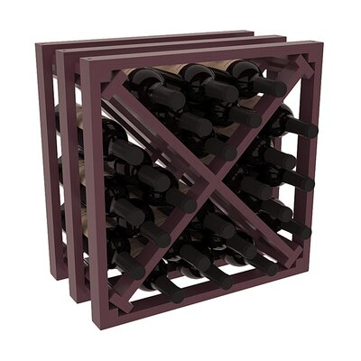 Karnes Pine Lattice X-Cube 24 Bottle Tabletop Wine Rack Finish: Burgundy Satin