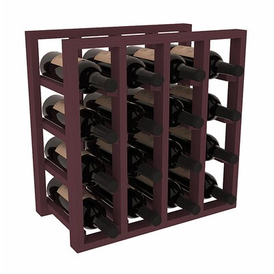 Karnes Pine Lattice 16 Bottle Tabletop Wine Rack Finish: Burgundy