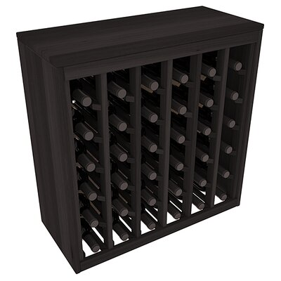 Karnes Redwood Deluxe 36 Bottle Floor Wine Rack Finish: Black
