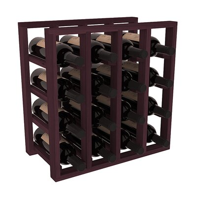 Karnes Redwood Lattice 16 Bottle Tabletop Wine Rack Finish: Burgundy