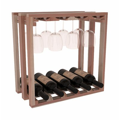 Karnes Redwood Lattice Stemware Cube 10 Bottle Tabletop Wine Rack Finish: Natural Satin