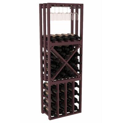 Karnes Pine Lattice Stacking Cube 45 Bottle Floor Wine Rack Finish: Burgundy Satin