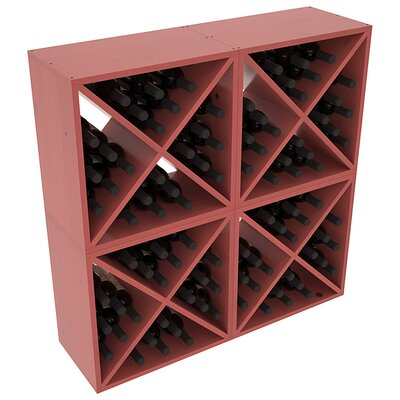 Karnes Pine X-Cube 96 Bottle Floor Wine Rack Finish: Cherry Satin