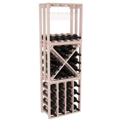 Karnes Redwood Lattice Stacking Cube 45 Bottle Floor Wine Rack Finish: Gray Satin