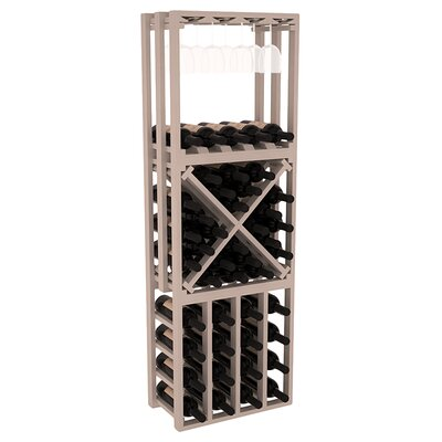 Karnes Pine Lattice Stacking Cube 45 Bottle Floor Wine Rack Finish: Gray