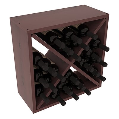 Karnes Pine Rustic Cube 24 Bottle Tabletop Wine Rack Finish: Walnut Satin