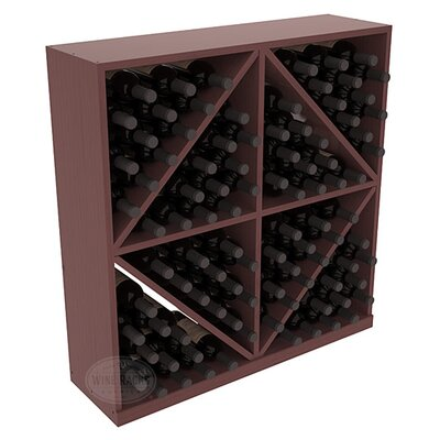 Karnes Pine Diamond Storage 96 Bottle Floor Wine Rack Finish: Walnut Satin