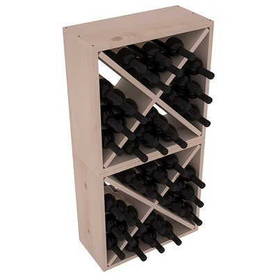 Karnes Pine Rustic Cube 48 Bottle Floor Wine Rack Finish: Gray
