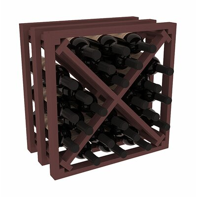 Karnes Pine Lattice X-Cube 24 Bottle Tabletop Wine Rack Finish: Walnut