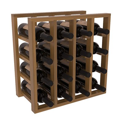 Karnes Redwood Lattice 16 Bottle Tabletop Wine Rack Finish: Oak Satin
