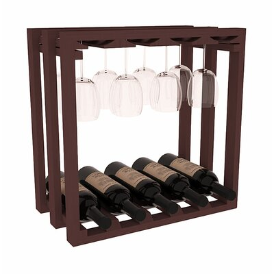 Karnes Pine Lattice Stemware Cube 10 Bottle Tabletop Wine Rack Finish: Walnut
