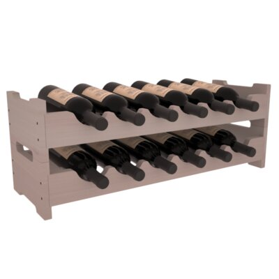 Karnes Redwood Mini Scalloped 12 Bottle Tabletop Wine Rack Finish: Gray