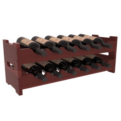 Karnes Redwood Mini Scalloped 12 Bottle Tabletop Wine Rack Finish: Cherry Satin