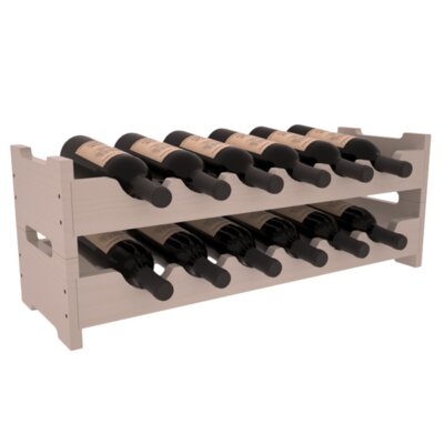Karnes Pine Mini Scalloped 12 Bottle Tabletop Wine Rack Finish: Gray Satin