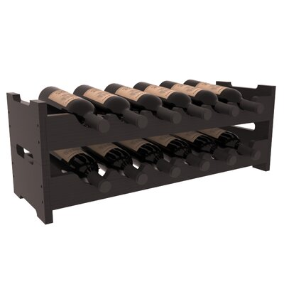 Karnes Pine Mini Scalloped 12 Bottle Tabletop Wine Rack Finish: Black Satin