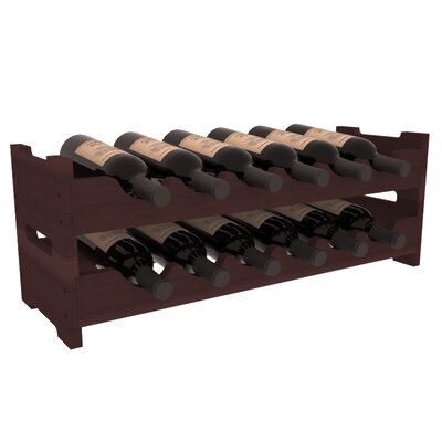 Karnes Redwood Mini Scalloped 12 Bottle Tabletop Wine Rack Finish: Walnut