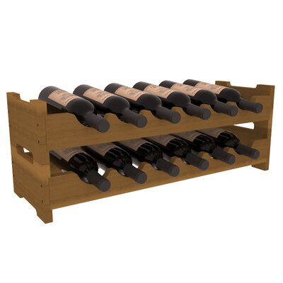 Karnes Redwood Mini Scalloped 12 Bottle Tabletop Wine Rack Finish: Oak