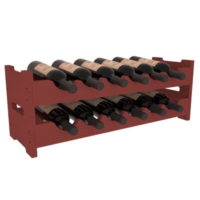 Karnes Pine Mini Scalloped 12 Bottle Tabletop Wine Rack Finish: Cherry