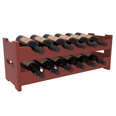 Karnes Pine Mini Scalloped 12 Bottle Tabletop Wine Rack Finish: Cherry Satin