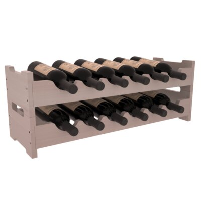 Karnes Redwood Mini Scalloped 12 Bottle Tabletop Wine Rack Finish: Gray Satin