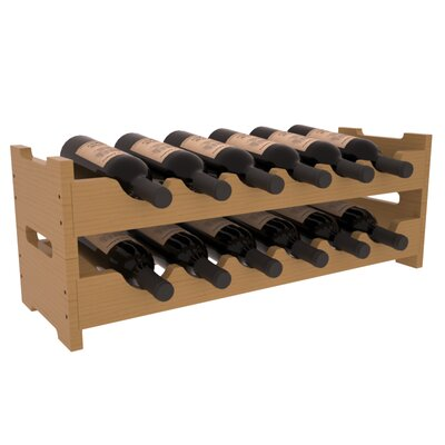 Karnes Pine Mini Scalloped 12 Bottle Tabletop Wine Rack Finish: Oak Satin