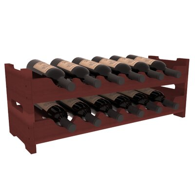 Karnes Redwood Mini Scalloped 12 Bottle Tabletop Wine Rack Finish: Cherry