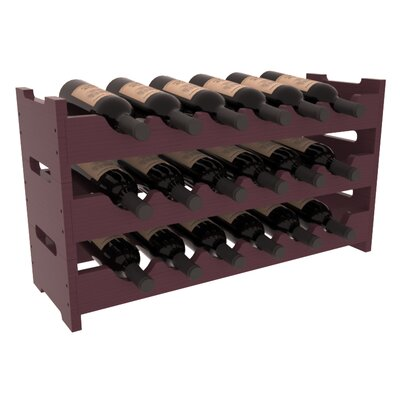 Karnes Pine Mini Scalloped 18 Bottle Tabletop Wine Rack Finish: Burgundy Satin