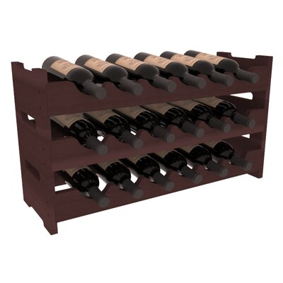 Karnes Redwood Mini Scalloped 18 Bottle Tabletop Wine Rack Finish: Walnut
