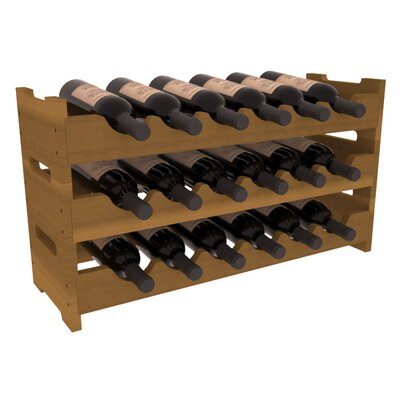 Karnes Redwood Mini Scalloped 18 Bottle Tabletop Wine Rack Finish: Oak