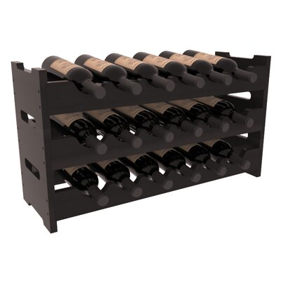 Karnes Redwood Mini Scalloped 18 Bottle Tabletop Wine Rack Finish: Black Satin