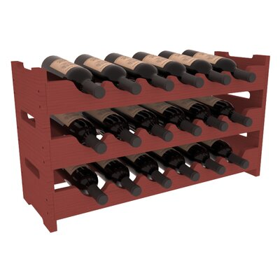 Karnes Pine Mini Scalloped 18 Bottle Tabletop Wine Rack Finish: Cherry