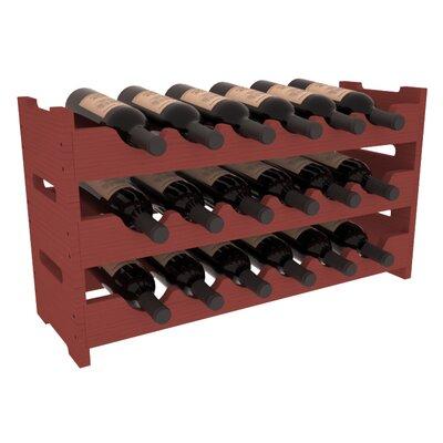 Karnes Pine Mini Scalloped 18 Bottle Tabletop Wine Rack Finish: Cherry