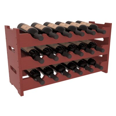 Karnes Pine Mini Scalloped 18 Bottle Tabletop Wine Rack Finish: Cherry Satin