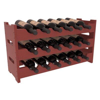 Karnes Pine Mini Scalloped 18 Bottle Tabletop Wine Rack Finish: Cherry Satin