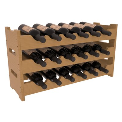 Karnes Pine Mini Scalloped 18 Bottle Tabletop Wine Rack Finish: Oak Satin