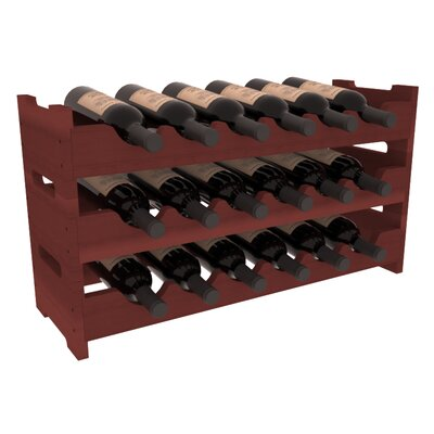 Karnes Redwood Mini Scalloped 18 Bottle Tabletop Wine Rack Finish: Cherry