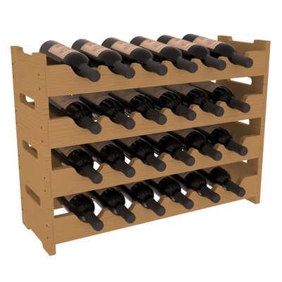 Karnes Pine Mini Scalloped 24 Bottle Tabletop Wine Rack Finish: Oak