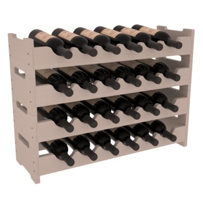 Karnes Pine Mini Scalloped 24 Bottle Tabletop Wine Rack Finish: Gray