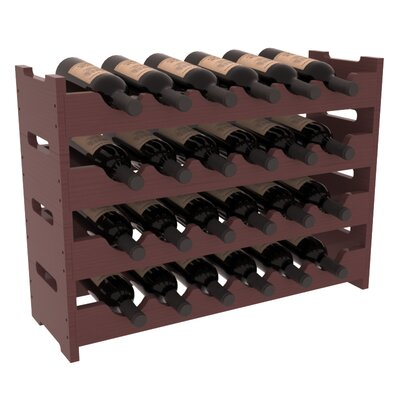 Karnes Pine Mini Scalloped 24 Bottle Tabletop Wine Rack Finish: Walnut Satin