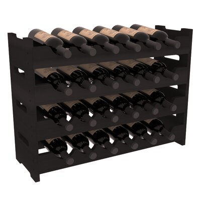 Karnes Redwood Mini Scalloped 24 Bottle Tabletop Wine Rack Finish: Black