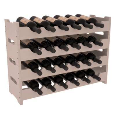 Karnes Pine Mini Scalloped 24 Bottle Tabletop Wine Rack Finish: Gray Satin