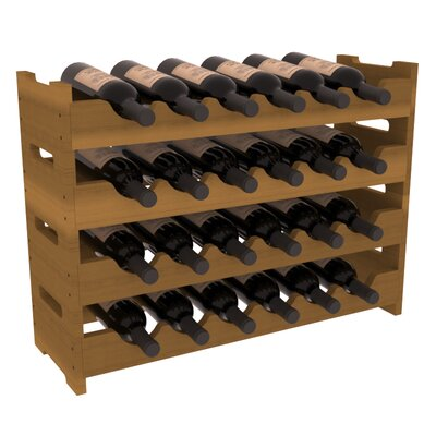 Karnes Redwood Mini Scalloped 24 Bottle Tabletop Wine Rack Finish: Oak