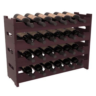 Karnes Redwood Mini Scalloped 24 Bottle Tabletop Wine Rack Finish: Burgundy Satin