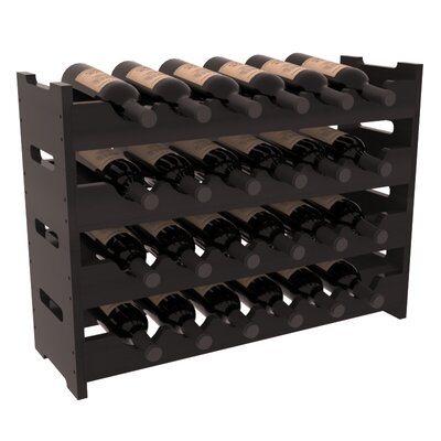 Karnes Redwood Mini Scalloped 24 Bottle Tabletop Wine Rack Finish: Black Satin