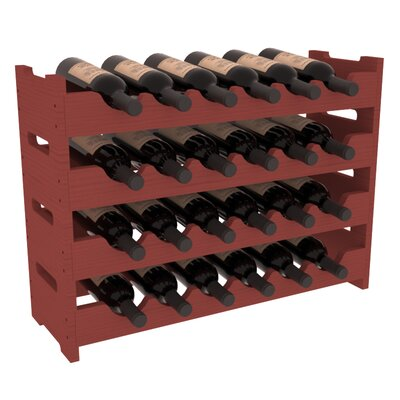 Karnes Pine Mini Scalloped 24 Bottle Tabletop Wine Rack Finish: Cherry