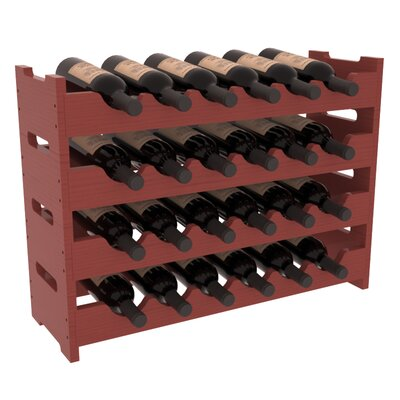 Karnes Pine Mini Scalloped 24 Bottle Tabletop Wine Rack Finish: Cherry Satin