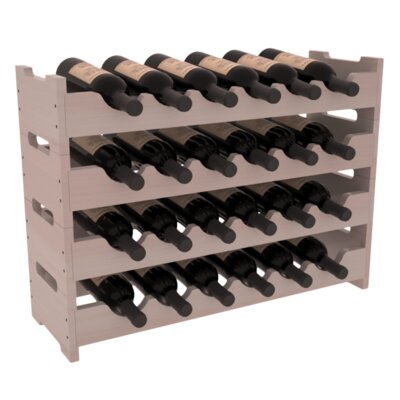 Karnes Redwood Mini Scalloped 24 Bottle Tabletop Wine Rack Finish: Gray Satin