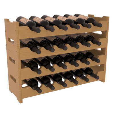 Karnes Pine Mini Scalloped 24 Bottle Tabletop Wine Rack Finish: Oak Satin
