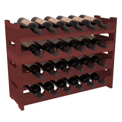 Karnes Redwood Mini Scalloped 24 Bottle Tabletop Wine Rack Finish: Cherry